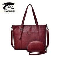 ZIWEIXING High Quality Women Bag Genuine Leather Handbags Top Handle Bags Tote Fashion Shoulder Bags Designer