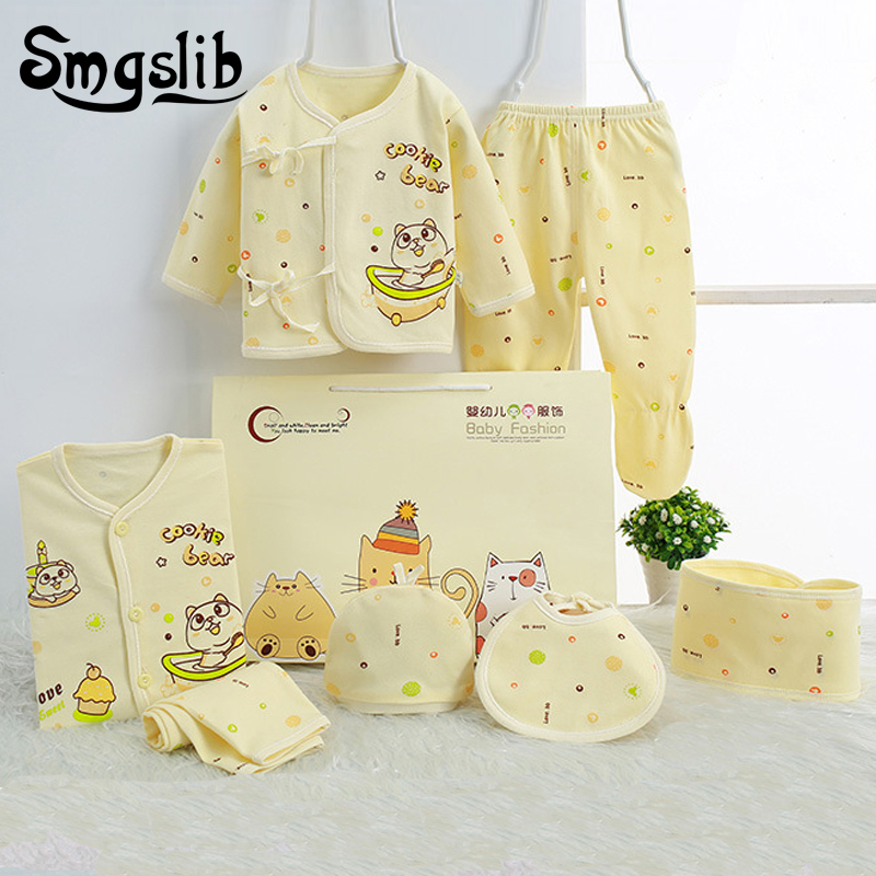 7pcs/lot Newborn clothes oddler Infant Autumn/Spring Cotton baby boy girl clothes Rompers+ Baby Pants Baby Clothing Sets costume