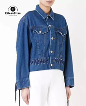 Women Denim jackets And Coats Spring Autumn Bow Bandage Denim Outerwear Long Sleeve Runway Jeans jacket 2017 Vintage