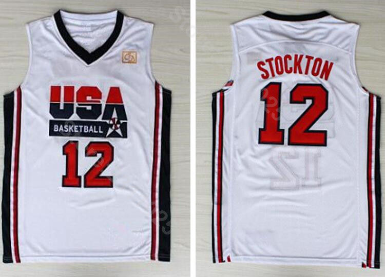 d9d68387f51d Ediwallen 1992 USA Dream Team One 12 John Stockton Jersey Men Basketball  All Stitched Breathable Team