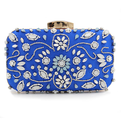 Beaded women evening bags flower print rhinestones clutches evening bag diamonds purse money card holder evening bags grey/blue delicore white letter