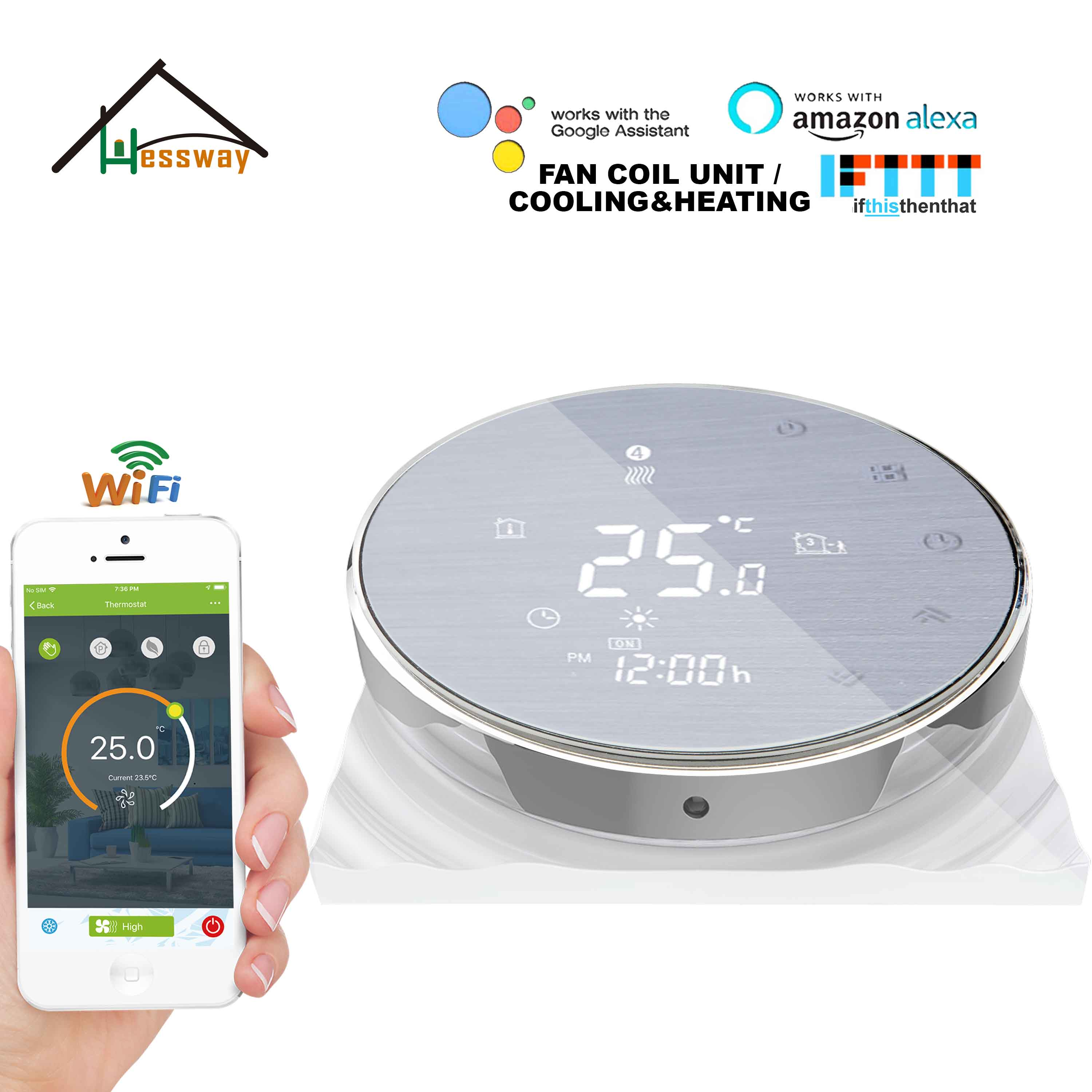 HESSWAY TUYA APP Room Thermostat Wifi Controller For 2p 4pipe Cooling Heating