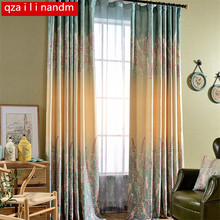 Lavender Printed Semi-shade Curtains For Living Room Gradient European And American Style Floral Screens Tulle Sheer Curtain