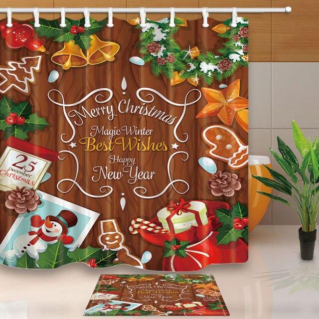 Christmas Gingerbread Man Shower Curtain Bathroom Waterproof Fabric 12hooks