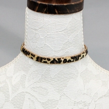 Leopard Leather Choker Necklace