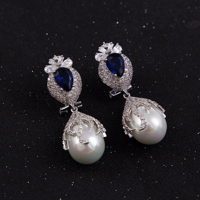 Luxury Cz Diamond Pave Hanging Vintage Bridal Long Drop Pearl Earrings For Wedding Brides Jewelry
