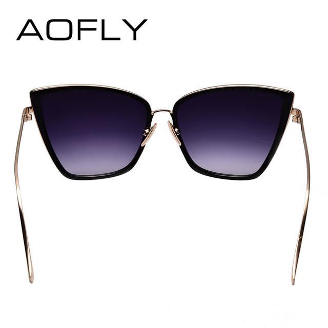 1db9fa9bc3 AOFLY New Fashion Women Sunglasses Cat Mirror Glasses Metal Cat Eye  Sunglasses Women Brand Designer High