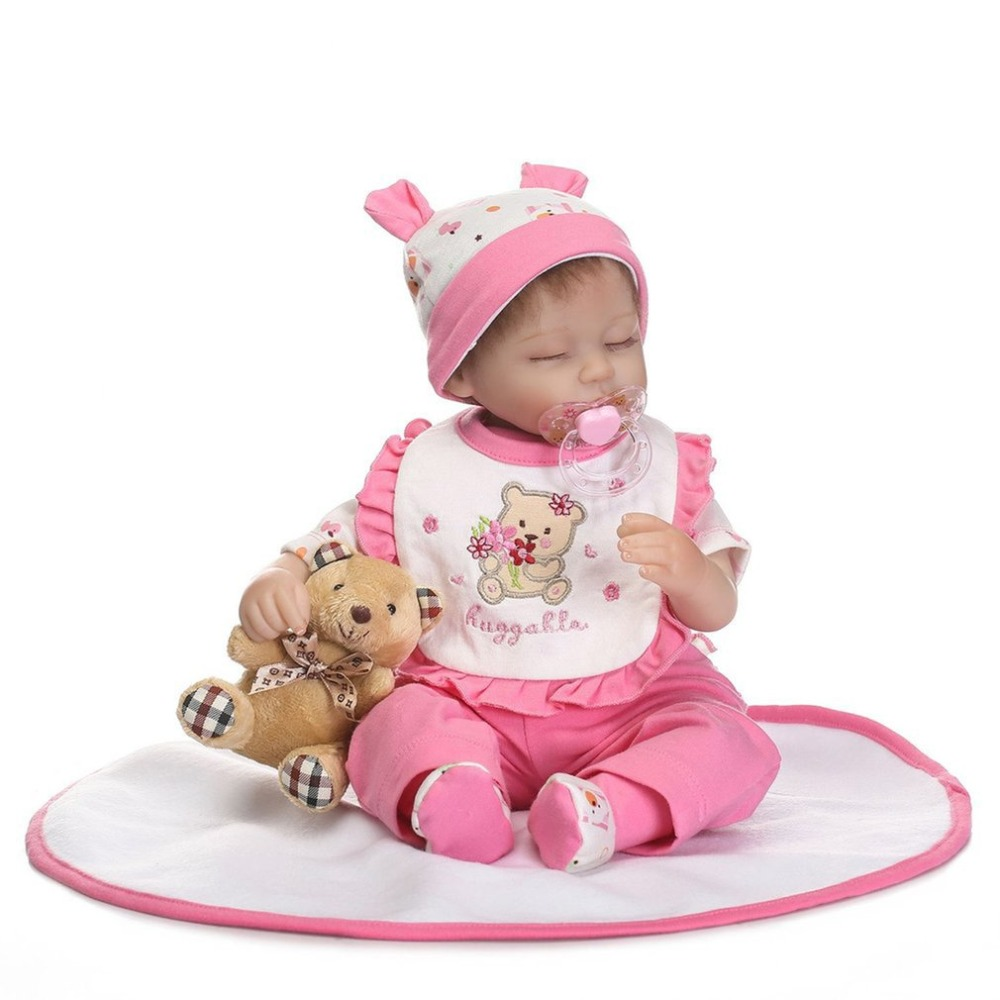 16 Inch silicone reborn babies full body Doll Pink Alive Lovely Newborn Baby Girl Doll Playmate boneca Reborn Gift Toys For Girl 16 inch silicone reborn babies reborn doll cute full silicone baby doll for children girl birthday gift