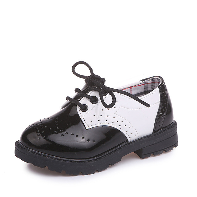 Small Children Leather Shoes Boys Students Prom Party Lace-up Shoes Black/White Kids Dress Shoes for a Boy Thick Bottom B02201