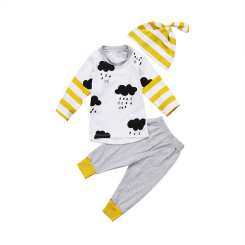 0-24M Newborn Kid Baby Boy Girl Tops Long Sleeve White T shirt Long Gray Pants Hat Outfits Set 3PCS Clothes 0 24m newborn infant baby boy girl clothes set romper bodysuit tops rainbow long pants hat 3pcs toddler winter fall outfits