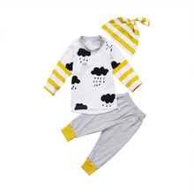 0-24M Newborn Kid Baby Boy Girl Tops Long Sleeve White T shirt Long Gray Pants Hat Outfits Set 3PCS Clothes