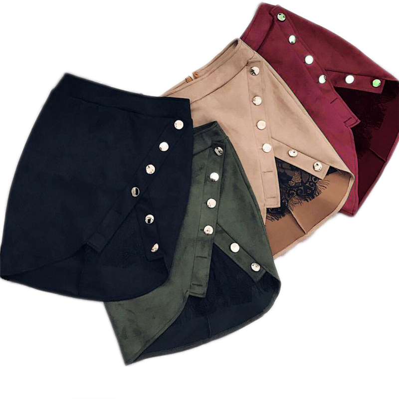 New Fashion Women Ladies High Waist Pencil Skirts Button Lace Patchwork Sexy Bodycon Suede Leather Split Party Casual Mini Skirt