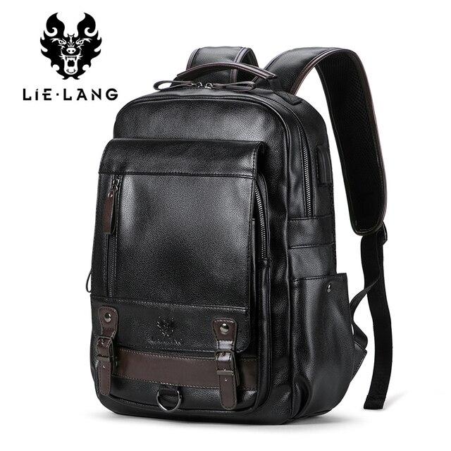 0183e54597 LIELANG Backpack Men s Mochila Masculina Men Fashion Trend Large Capacity  Youth Leisure Black Travel Leather Computer Bag Men s