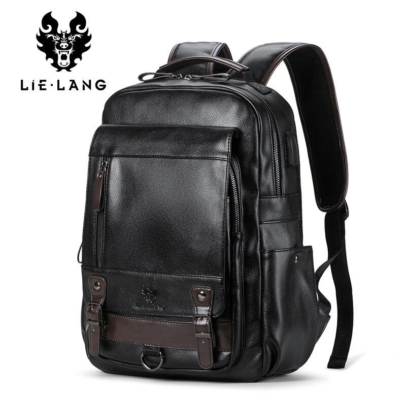 LIELANG Backpack Men's Mochila Masculina Men Fashion Trend Large Capacity Youth Leisure Black Travel Leather Computer Bag Men's