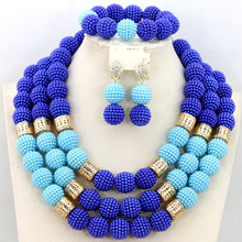 Royal Blue/Sky Blue Costume African Balls Gold Plated Jewelry Set Nigerian Wedding Indian Bridal Beads Necklace Set AIJ362