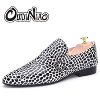 Patent Leather Leopard Vintage Mens Shoes Casual Fashion 2017 Slip On Men Shoes Breathable Waterproof Loafers