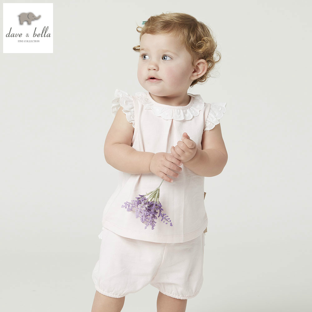 DB5000 dave bella summer baby girls clothing sets child lovely sets kids toddle cloth baby fancy clothes children chothing sets