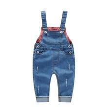 Baby Pants Girls Jeans Boys Trousers Jumpsuit for Girls 9-36M Children Broken Hole Pants Kids Denim Overalls Suspender Bib Pants