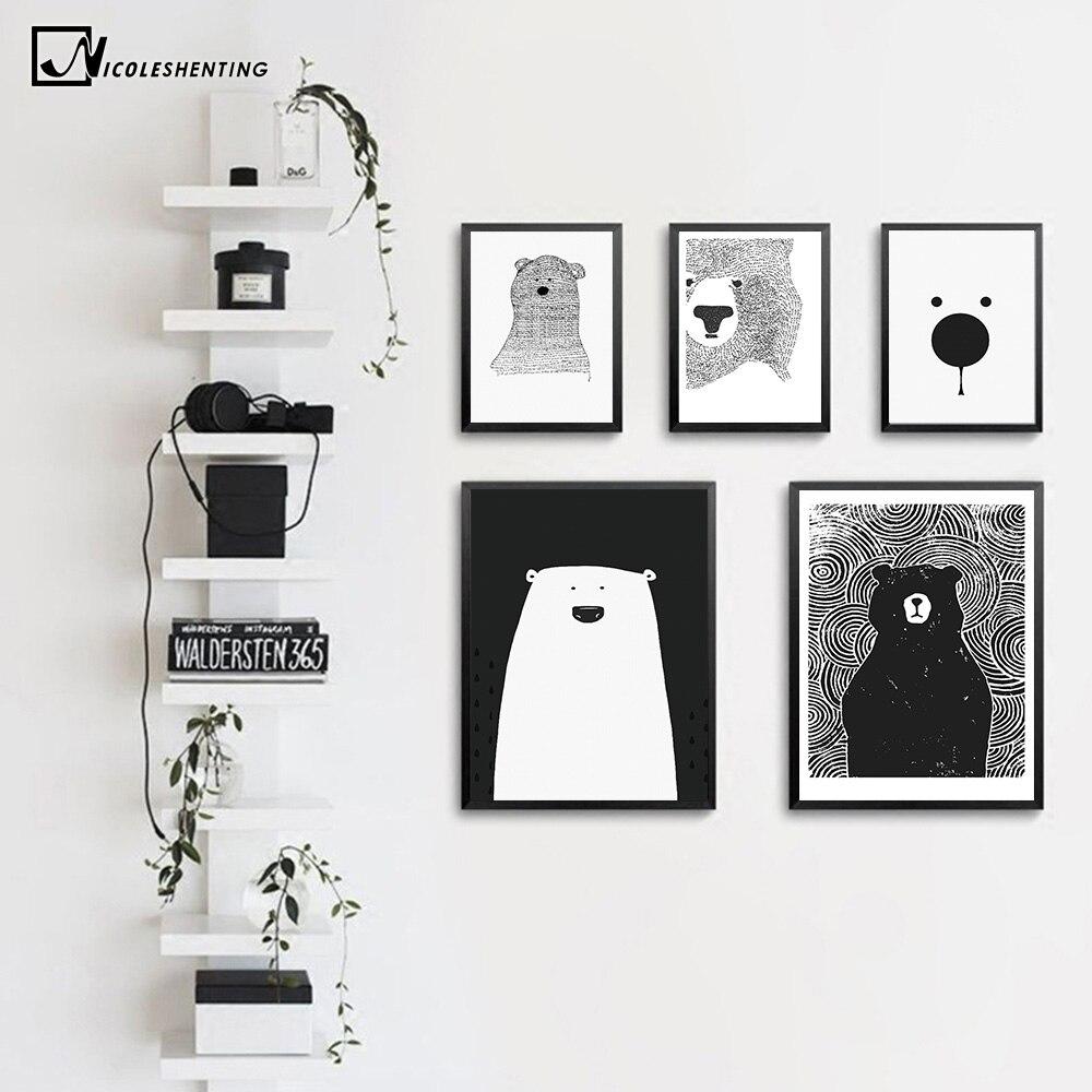 Cartoon Polar Bear Animal Nordic Art Canvas Poster Impresión - Decoración del hogar - foto 2