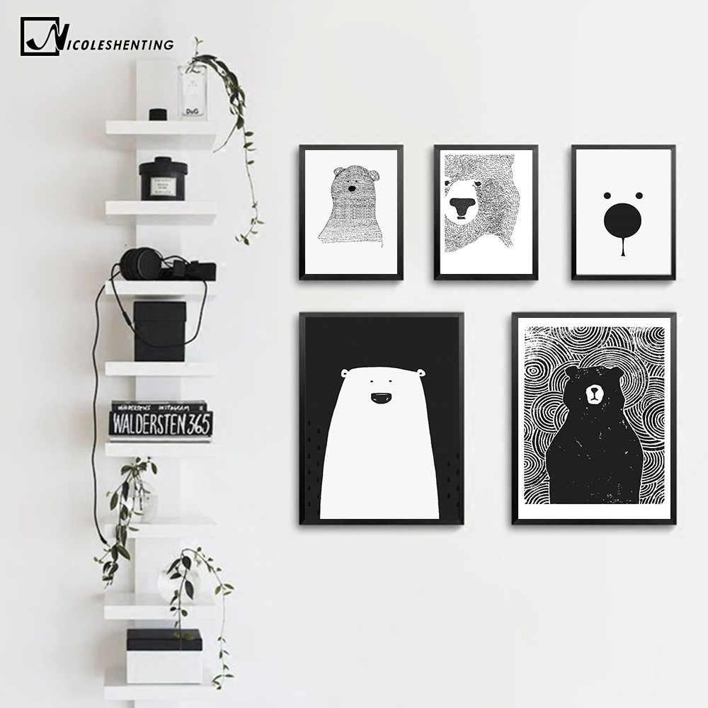 Kartun Beruang Kutub Hewan Minimalis Nordic Seni Kanvas Poster Cetak Hitam Putih Dinding Gambar Modern Rumah Anak Dekorasi Kamar