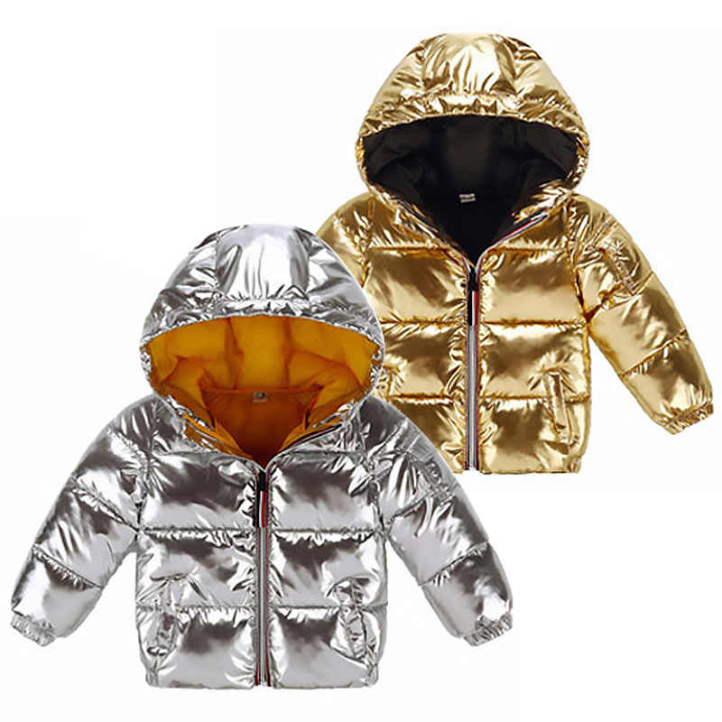 Children Fashion Winter Jacket Child Girl Silver Gold Boys Casual Hooded Coat Baby Clothing Outwear Kids Parka Jacket Snowsuit