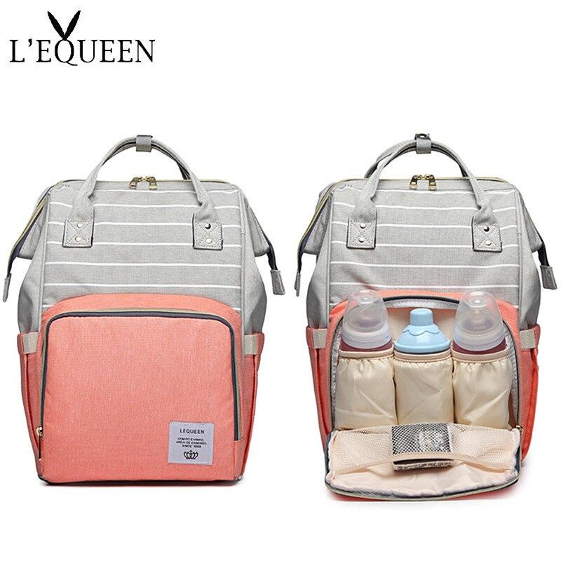Lequeen-sacs à couches à rayures | Nouveaux types de sac à dos tendance pour maman, sacs à couches multifonctions grande capacité, Double sacs à main