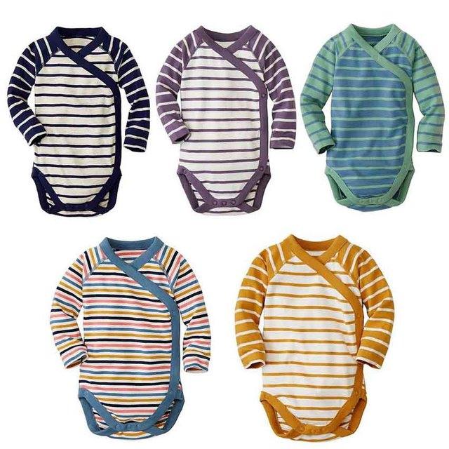 5 Peças/lote Bodysuits Do Bebê monge terno Do Bebê Do Algodão de Manga Comprida Macacão Roupa Do Bebê tarja Bebê Meninas Bodysuits