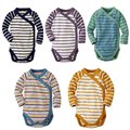 5 Pieces/Lot Baby Bodysuits long Sleeved  monk suit Cotton Baby Jumpsuit Baby Clothes stripe Baby Girls Bodysuits