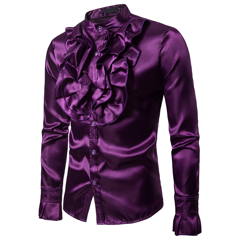 Image 2 - Vintage Chest Flower Palace Tuxedo Men Shirt Silk Satin Smooth Petal Sleeve Shirts Men Dress Stage Wedding Prom Chemise Homme-in Tuxedo Shirts from Men's Clothing