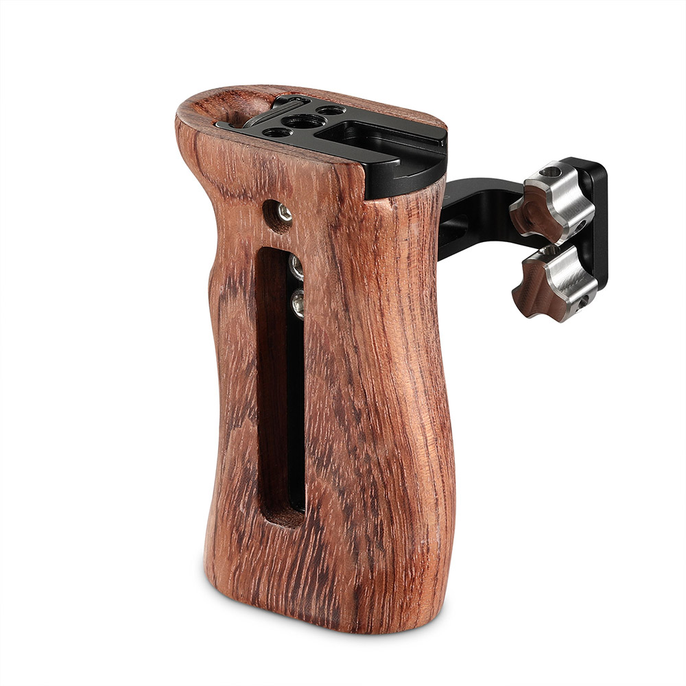 SmallRig DSLR Handgrip For Universal Camera Cage Wooden Side Handle Featuring Two 1/4 Thread Holes With 18mm Distance 2093