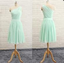 Billig Mint Grün Eine Schulter Kurz Brautjungfernkleider 2016 Einfache Falte Sleeveless Heimkehr Kleid Kurze Kleider Für Prom