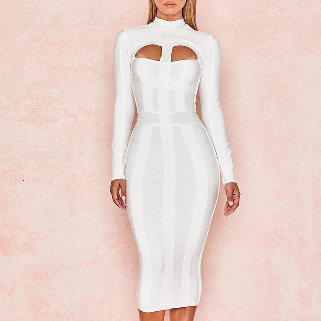 Adyce 2018 New Summer Women Bodycon Bandage Dress White Long Sleeve Hollow  Out Club Dress Vestidos 039e7dd79a5e