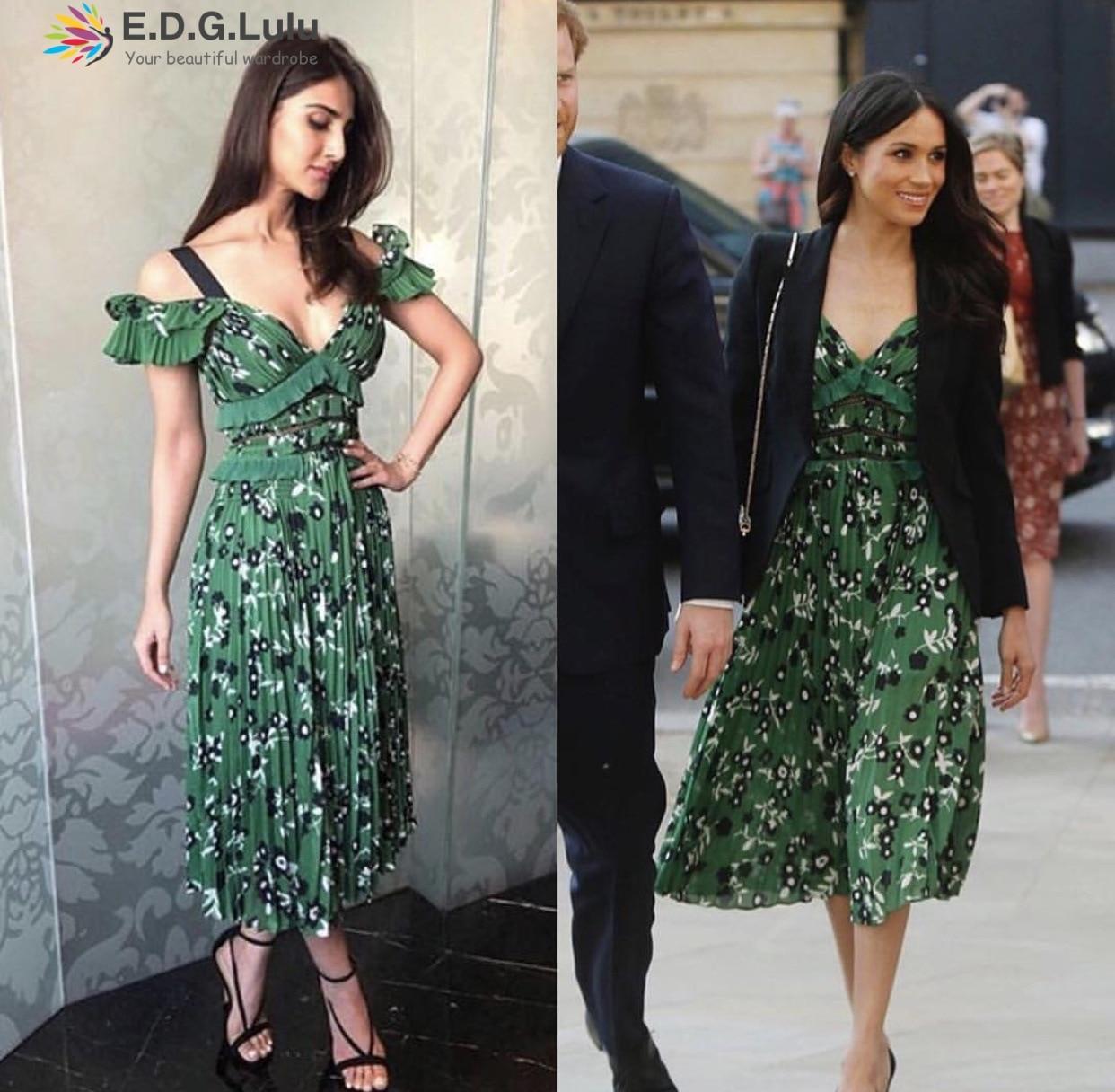 EDGLuLu Princess megan midi dress sexy elegant green floral print v neck 2018 women summer floral ruffle boho beach dress