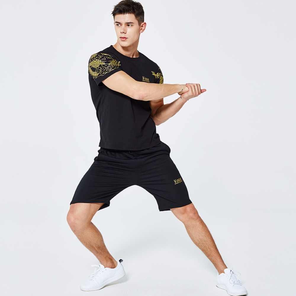 موضة رياضية الرجال مجموعة 2019 الصيف بدلات رياضية مخملية العلامة التجارية الجديدة قطعتين قصيرة الأكمام قميص مطبوع بلايز + السراويل مجموعات ملابس رياضية رجالي