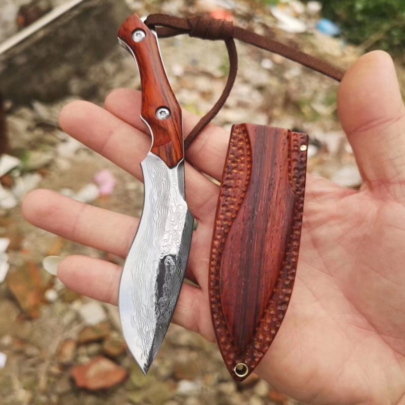 VG10 handmade Damascus steel knife folding pocket knife Manual outdoor portable folding knife utility knife Rosewood
