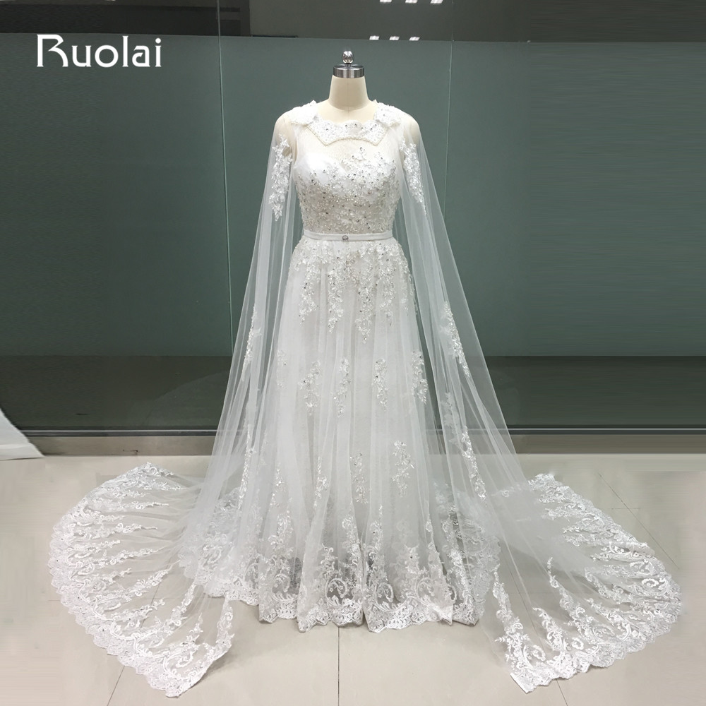 Real Photo Luxury Dubai Caftan A-Line Scoop   Evening     Dresses   Applique Lace Beading Prom   Dresses   with Cape Robe de Soiree FE96