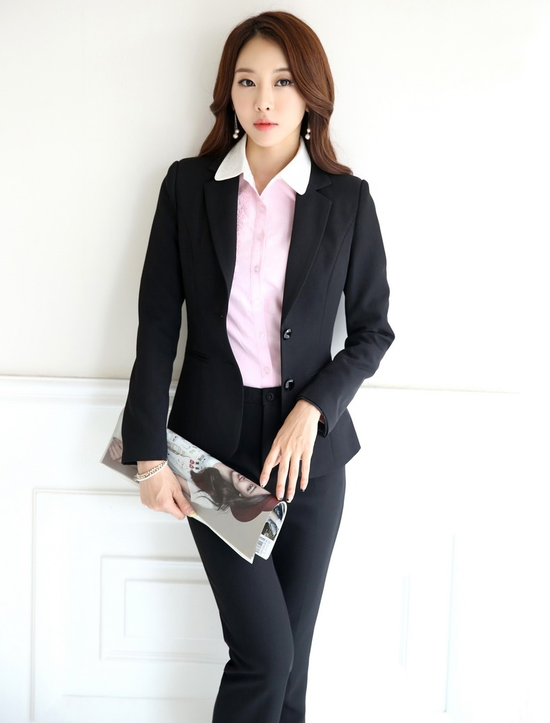 Novelty Black Professional Spring Autumn Formal OL Styles Business Suits Jackets And Pants Female Pantsuits Trousers Set