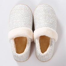 Womans winter slippers Large Size 43 Fur Slippers Cozy Short Plush Warm Indoor Cotton Fabric