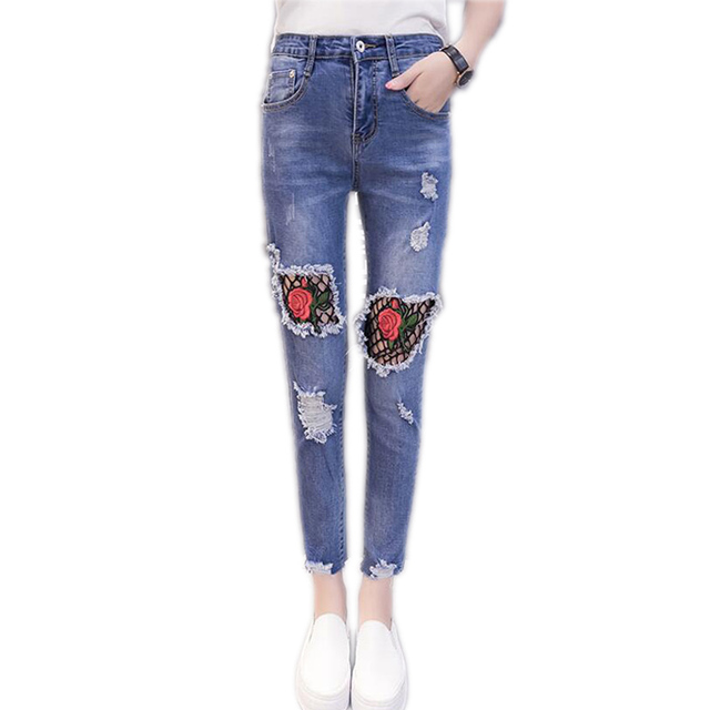 d79fd0a6b3d0d Fashion Summer Rose Embroidery Mesh Women Jeans Ripped Women Beggars  Trousers 5XL Plus Size Pants Female Denim Women Pencil Pant