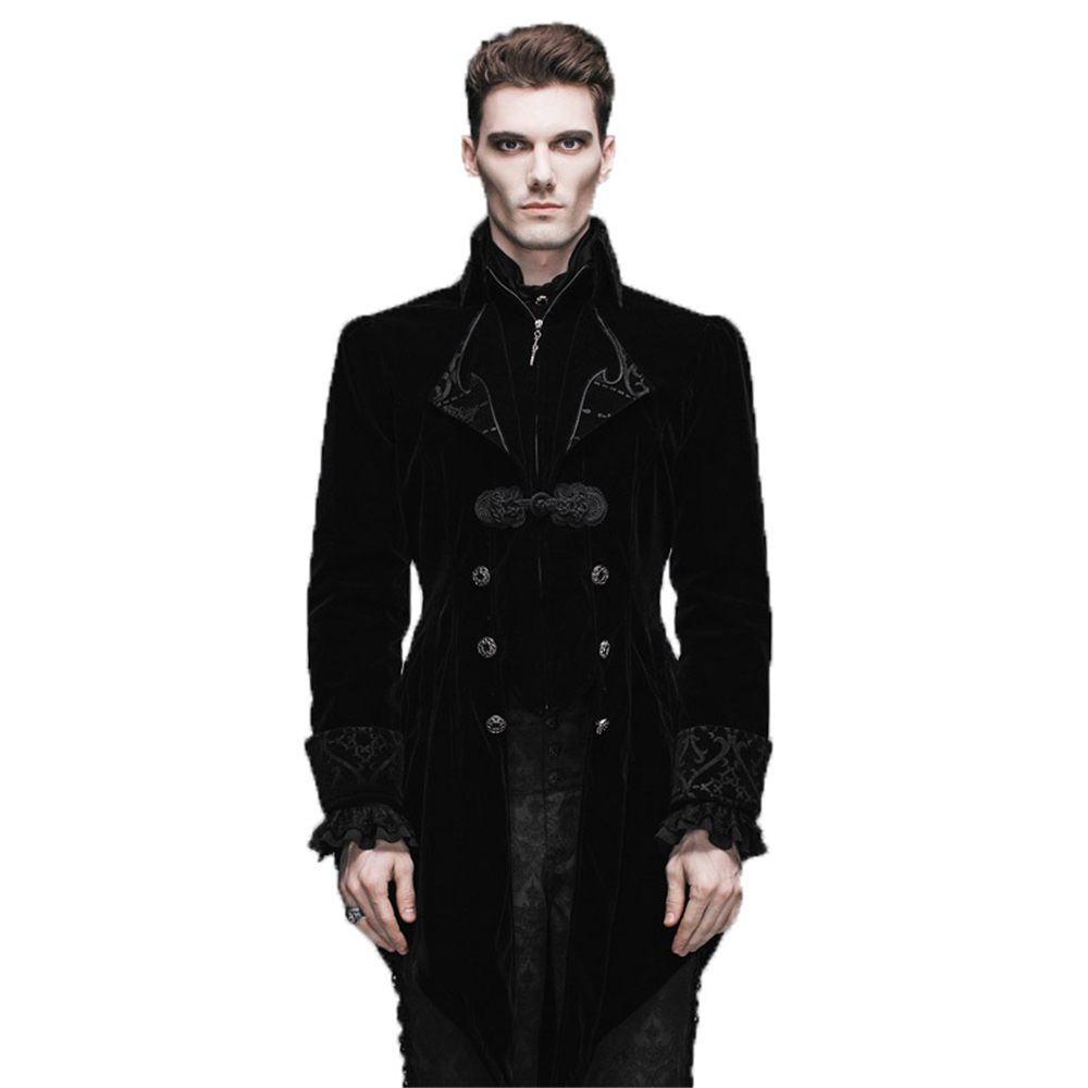 Punk Spring Autumn Men's Swallow-Tail Jacket Schwarz Rot Herren - Herrenbekleidung