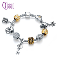 QGGLE New Copper Zircon Charm Bangle & Bracelet With Crystal Rose Lock beads & Bag Box Key Snowman Pendants