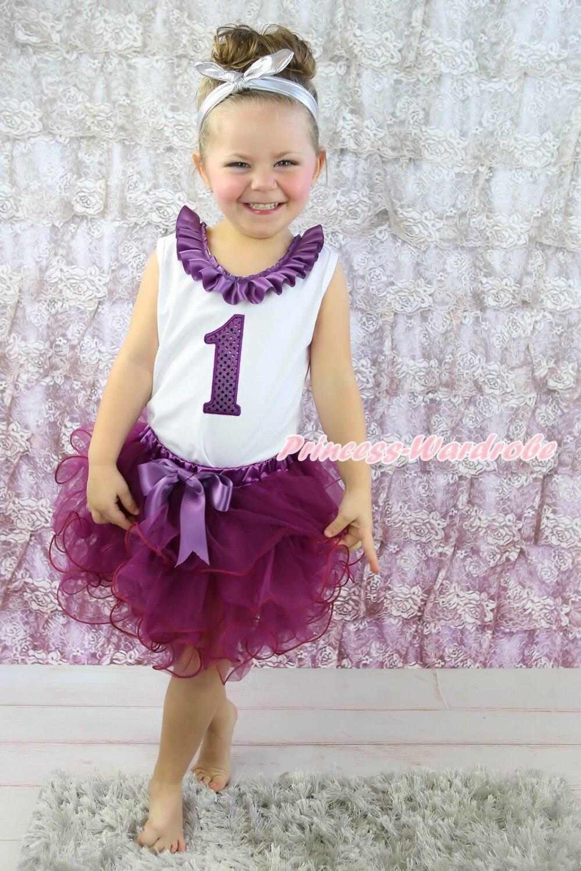 ФОТО Birthday 1ST 2ND 3RD 4TH White Top Purple Amethyst Petal Girl Skirt Outfit NB-8Y