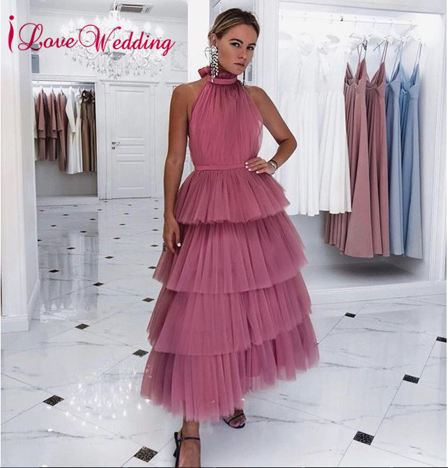 New Arrival 2019 Prom Dresses Custom Made Sleeveless Tiered Tulle Skirt A Line Ankle Length Women Formal Party Prom Gown
