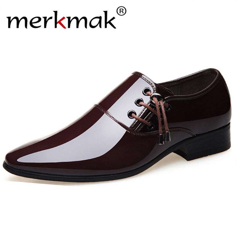 Merkmak 2020 Men Dress Shoes Men Formal Wedding Footwear Pointed Toe Fashion PU Leather Shoes Flats Oxford Shoes Plus Size
