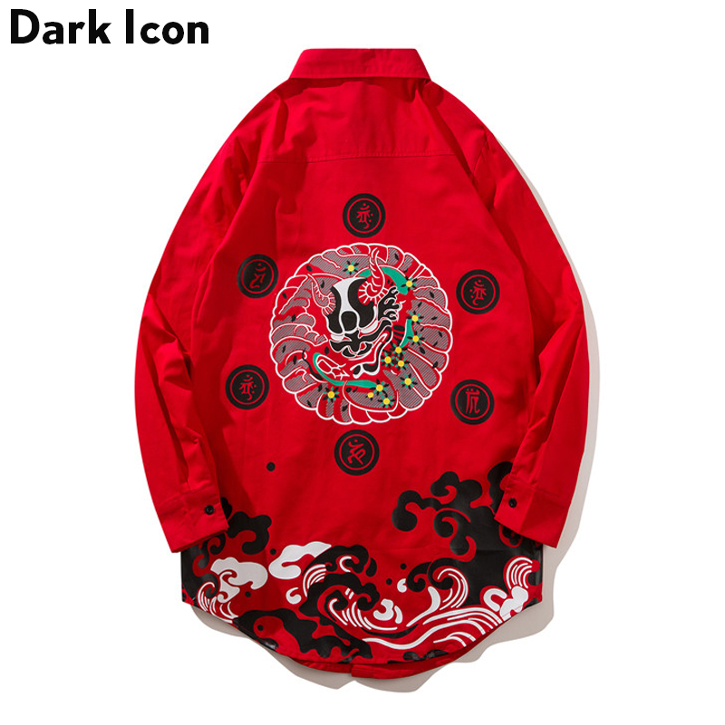Traditional Printing Longline Shirt Men 2018 Summer Curved Hem Extended Mens Shirt Streetwear Clothing Black Red