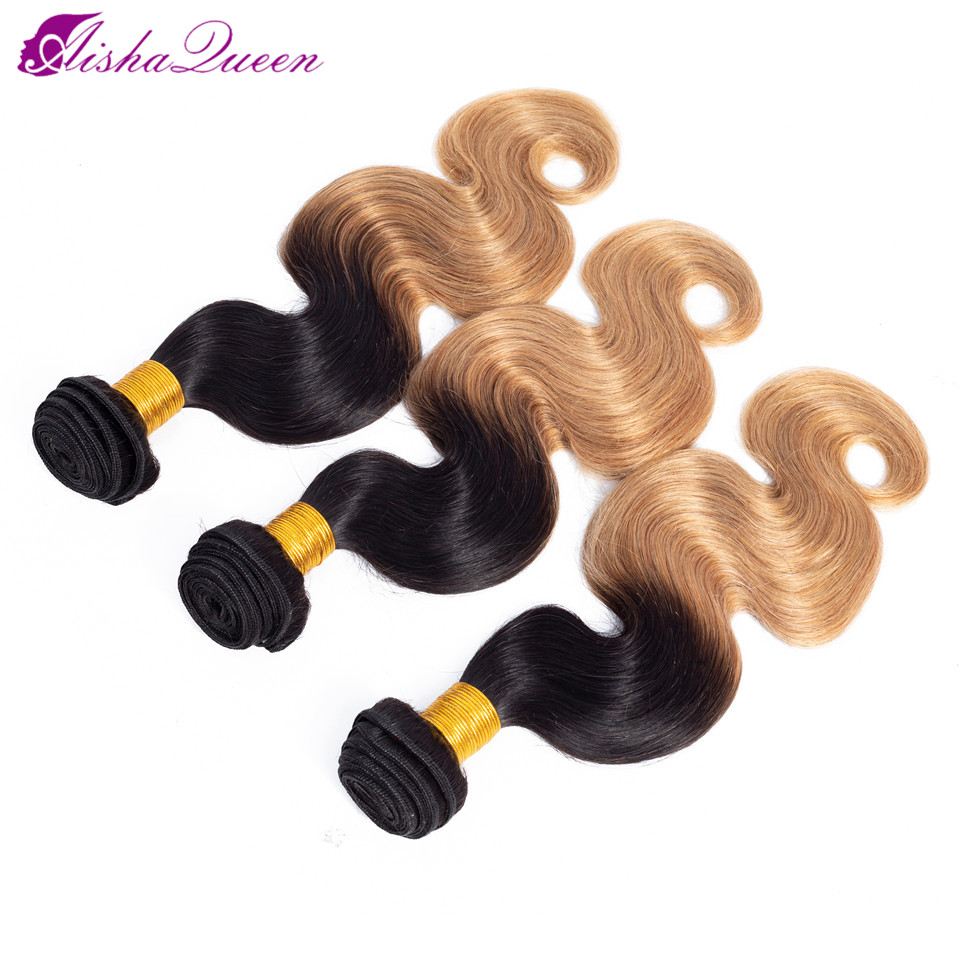 Aisha Queen Pre colored 1B 27 Bundles Peruvian Body Wave Hair Ombre Remy Human Hair Bundles