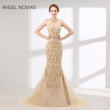 Angel Novias Real Long Mermaid Evening Dress 2018