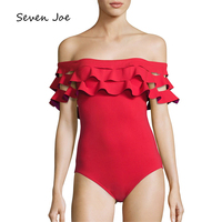 Seven Joe Sexy laser cutting Fold one piece Bikini A Word Shoulder Ruffled Women Swimwear Solid Color Bikini Bottom Swimsuit