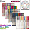 Bianyo 60pcs Gel Pen Set Refills Metallic Pastel Neon Glitter Sketch Drawing Color Pen School Stationery