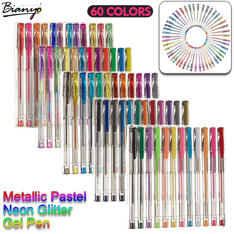 Bianyo 60pcs Gel Pen Set Refills Metallic Pastel Neon Glitter Sketch Drawing Color Pen School Stationery